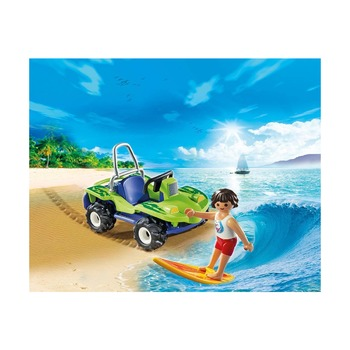 Серфер с пляжным квадроциклом
