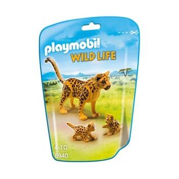 Леопард с детенышами