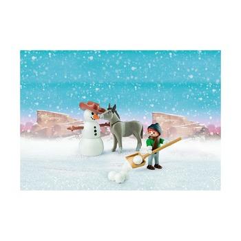 Зимние сани + снеговик с осликом