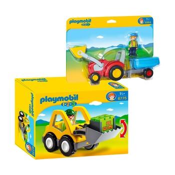 Экскаватор + трактор с прицепом