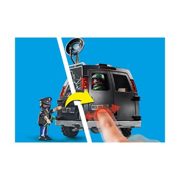 Погоня за фургоном преступников на вертолете