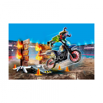 Трюковое шоу Мотоцикл с огненной стеной