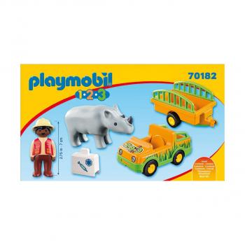 Грузовик зоопарка и прицеп с носорогом